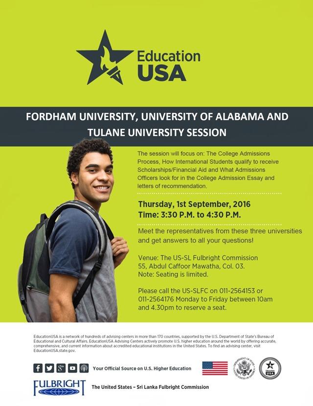 Fordham, Alabama and Tulane uni visit flyer