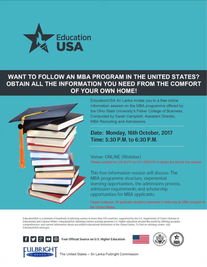 Ohio State University Webinar on MBA Programs - Flyer October 2017