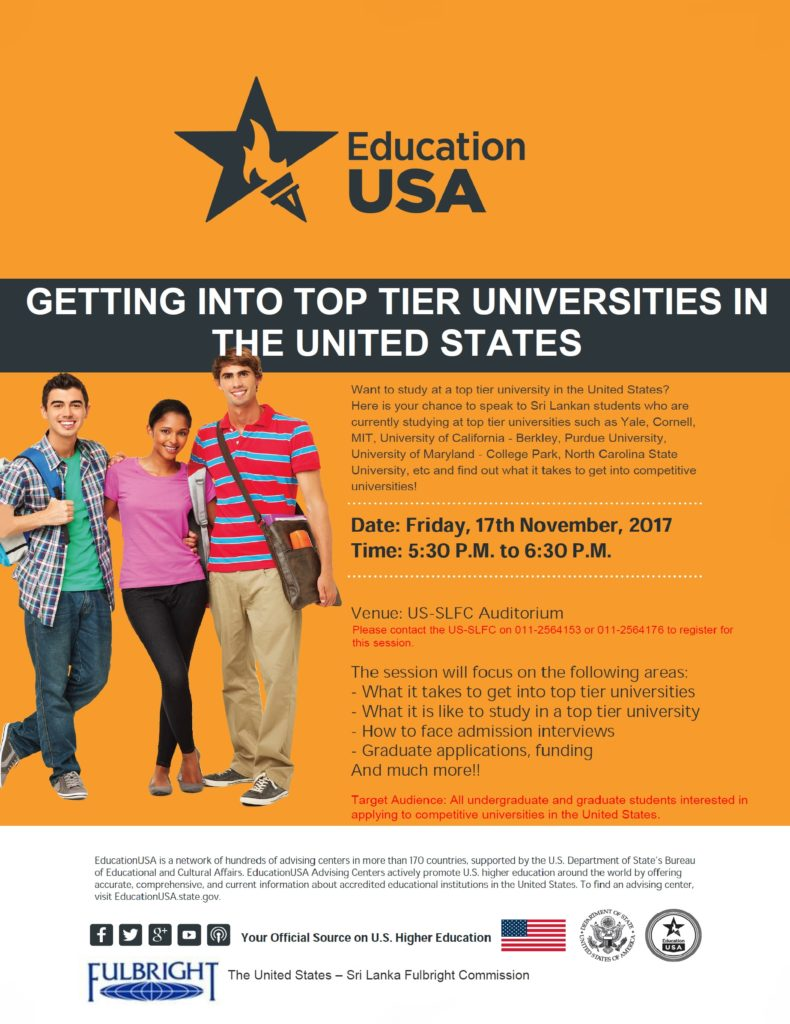Getting into top tier universities in the United States Flyer