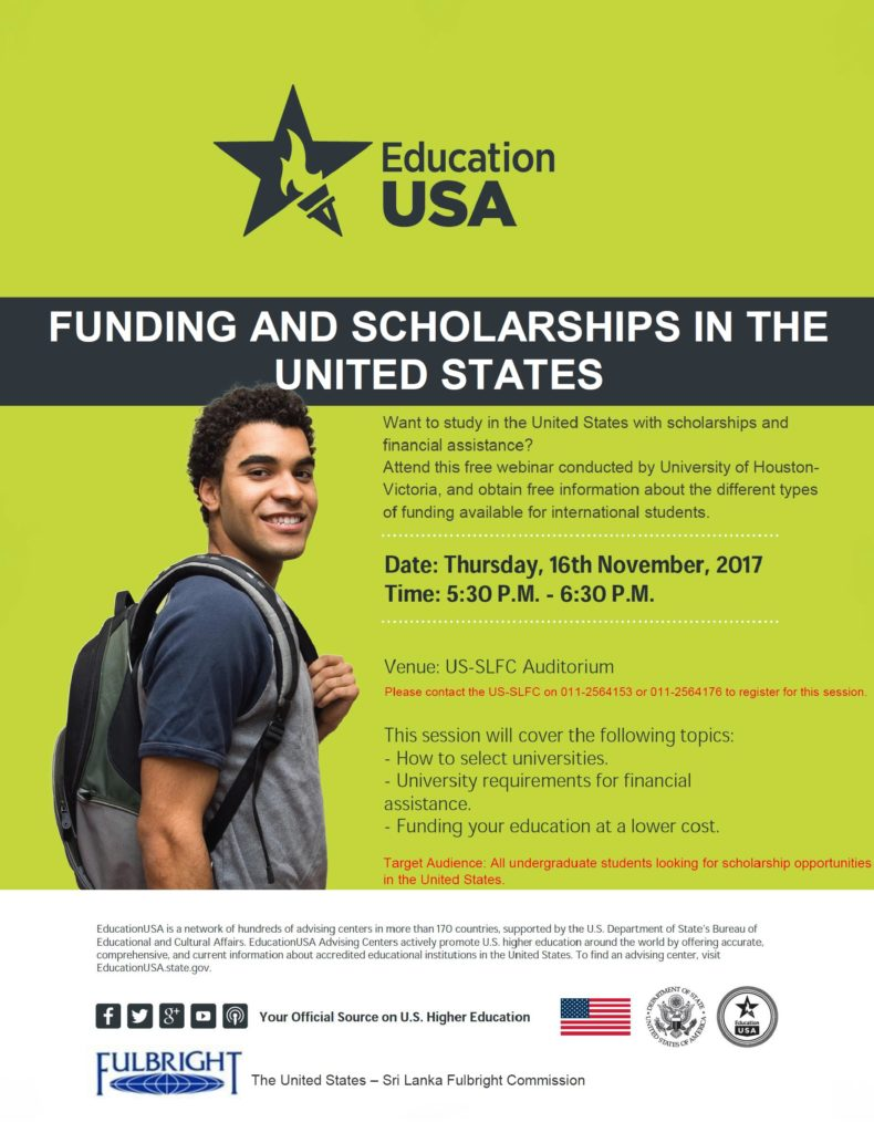 UHV Webinar on Funding and Scholarships in the U.S. - Flyer