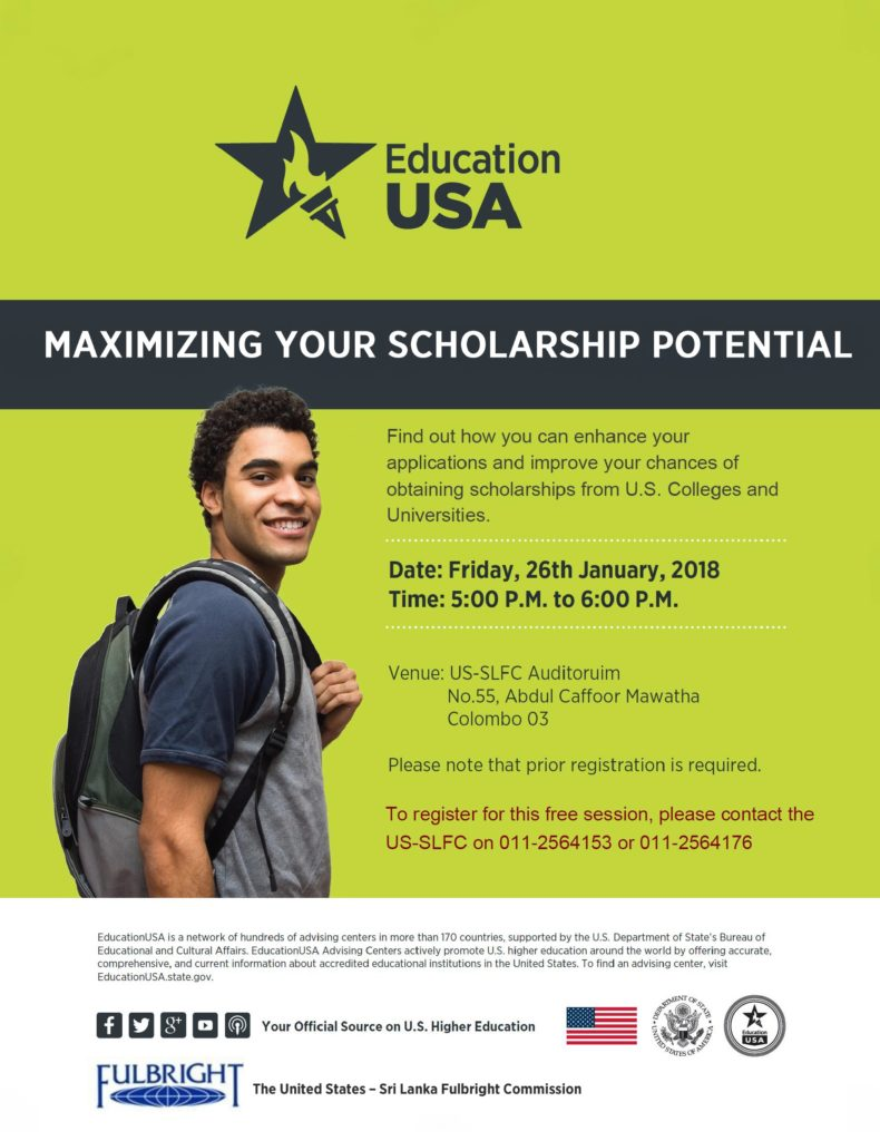 Maximizing your scholarship potential Session Flyer